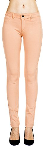 Peaches Elastic - Women's Slim Fit Super Stretch Comfy Jeggings Skinny Pants With Real Back Pockets, Peach, Large