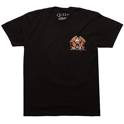 Queen Classic Crest Logo T-Shirt - Black (XX-Large) (Mens Band Black T-shirt)