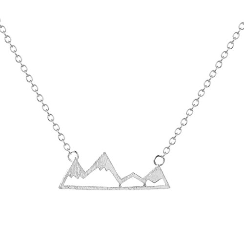 Chengxun Stainless Steel Snowy Mountain Top Pendant Silver Chain Necklace for Women