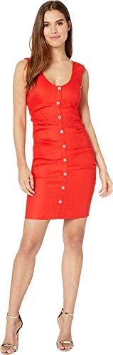 Nicole Miller Women's Button Down Tuck Dress Cherry Red 2