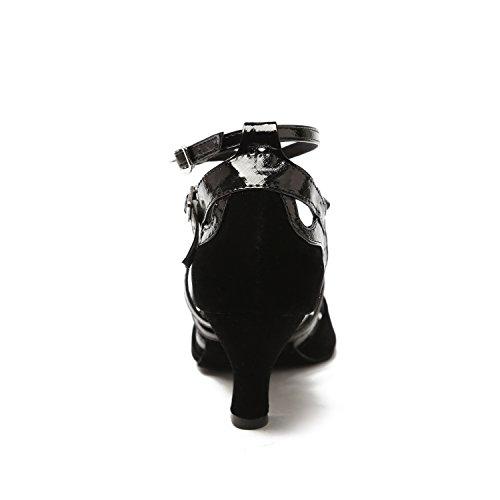 Minitoo - Zapatillas de danza de sintético para mujer Black-6cm Heel