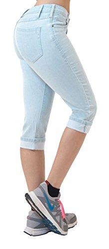 Spring Capri Jeans - HyBrid & Company Women's Perfectly Shaping Stretchy Denim Capri-Q22888X-SP-BLEACH-18