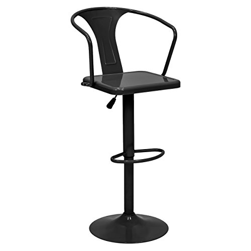 Adjustable Metal Bar Stool (Best Choice Products Height Adjustable Metal Bar Stool with Back Support (Black))