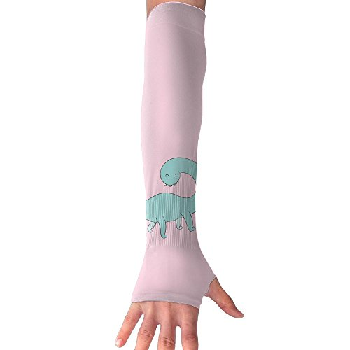 Mossey Raymond Unisex Outside Athletic Hand Cover Cooling UV Protection Arm Sleeves - 1 Pair, Teal Dinosaur, Pink by Mossey Raymond