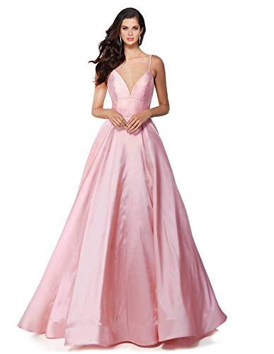 SUMINTRAS Alluring deep v-Neck Side Pockets a line lace-up Back Taffeta Ball Gown Prom Formal Dress (L, Pink)