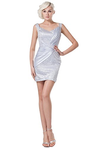 Vogue007 Womens Straps Imitated Silk Fabric Satin Pongee Full Dress with Sequin, Silver, 16 by Unknown