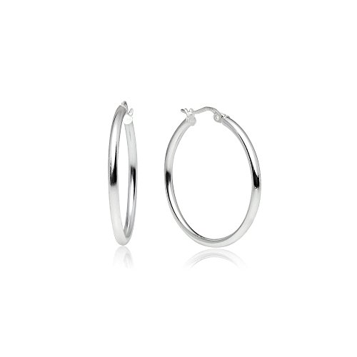 LOVVE Sterling Silver High Polished Round-Tube Click-Top Hoop Earrings, 2x30mm