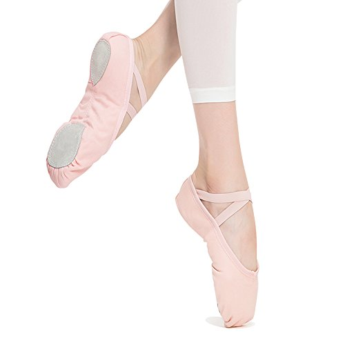 STELLE-GirlsWomens-Canvas-Ballet-SlipperBallet-ShoeYoga-Shoe-ToddlerLittle-KidBig-KidWomen7M-US-Toddler-Ballet-Pink