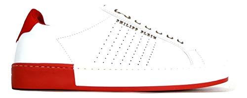 PHILIPP PLEIN Scarpe Uomo Lo-Top Sneakers Another Night MSC1090 PLE075N Bianco Rosso n.42.5 EU