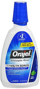 - Orajel Antiseptic Rinse for All Mouth Sores, Mint - 16 oz, Pack of 5