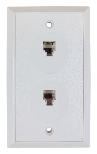 Flush Mount Duplex Wall Jack, 6 Conductor, 6 Position, Plastic, White, Single Gang, 2 Ports