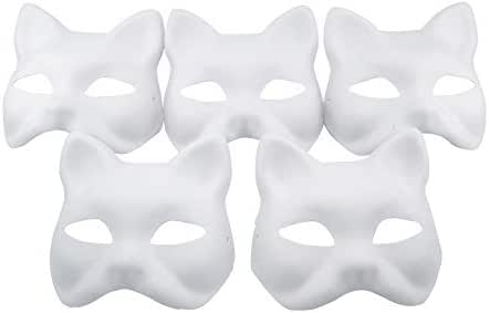 Nakimo Fox Mask DIY Paintable Cosplay Accessories Mask for Party Masquerade Costume Halloween, Pack of 5