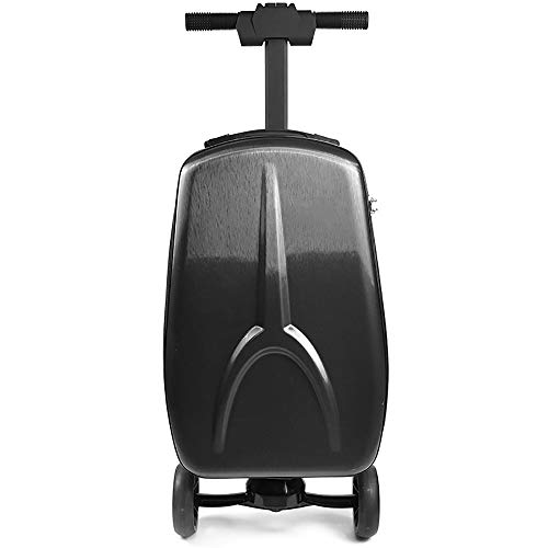 "Luggage Scooter, 20"" Foldable Multifunctional Scooter Suitcase with Handbag Wheels for Airport Travel School (Black)"
