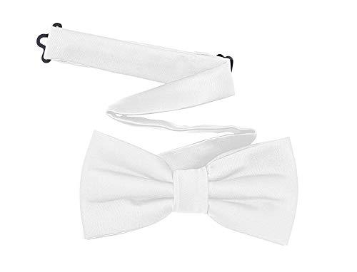 TINYHI Men's Pre-Tied Satin Formal Tuxedo Bowtie Adjustable Length Satin Bow Tie White One Size