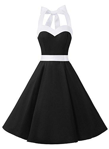 DRESSTELLS Vintage 1950s Rockabilly Polka Dots Audrey Dress Retro Cocktail Dress Black White XL