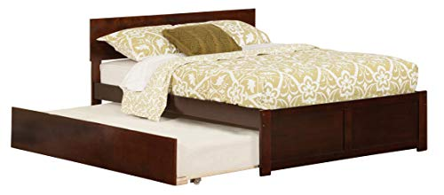 Atlantic Furniture AR8132014 Orlando Platform Bed with Twin Size Urban Trundle, Full, Walnut Domain Low Profile Bed