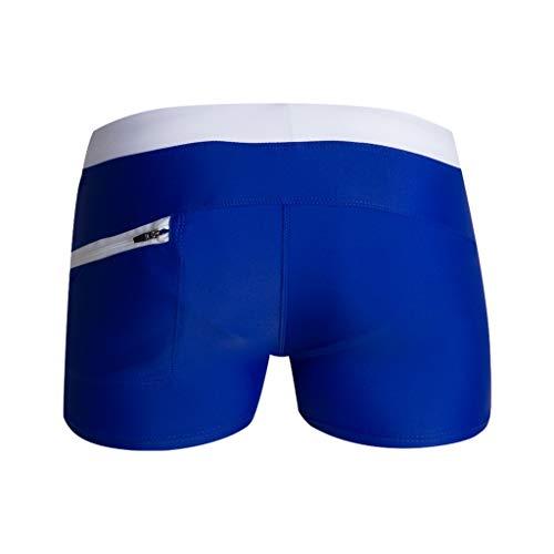❤️Ywoow❤️, Plus Size Men Breathable Trunks Pants Solid Swimwear Beach Shorts Slim Wear Dark Blue