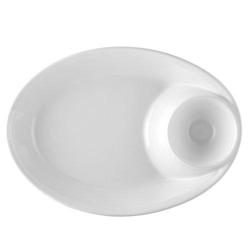 CAC China MX-OB14 Porcelain 65 oz Oval Chip and Dip Bowl (Box of 12), 13-7/8'' x 10'' x 2-3/8'', Super White
