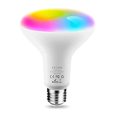 TECKIN Smart Light Bulb,LED RGB Color Changing,E27 100W Equivalent Compatible with Alexa and Google Home,IFTTT,BR30 WiFi Light Blubs(13W),1 Pack