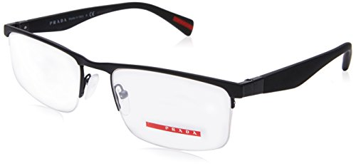 Prada PS52FV DG01O1 Black Rubber Eyeglass, - Prada Glasses Mens
