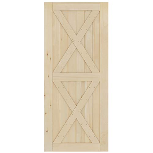 SmartStandard 36in x 84in Sliding Barn Wood Door Pre-Drilled Ready to Assemble, DIY Unfinished Solid Cypress Wood Panelled Slab, Interior Single Door Only, Natural, K-Frame (Fit 6FT-6.6FT ()