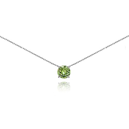 Sterling Silver Light Green Solitaire Choker Necklace set with Swarovski Crystal