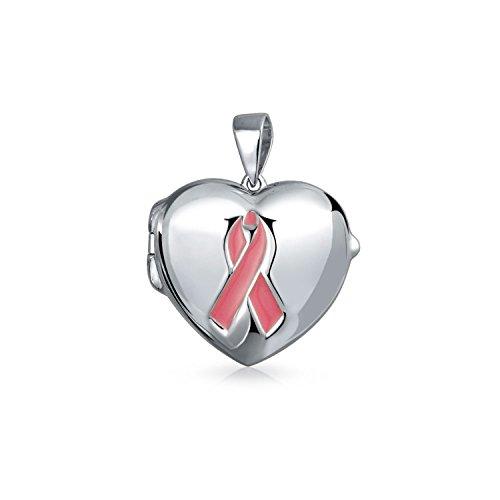 Pink Enamel Ribbon Cancer Awareness Heart Shaped Locket Sterling Silver Pendant