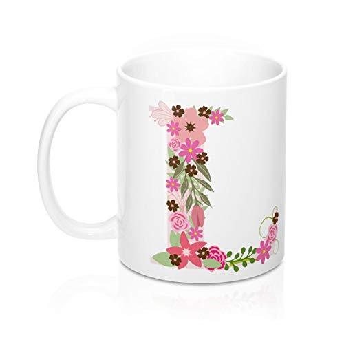 Initial Mugs, Letter L Mug, Monogram Mugs, Floral Letter Mugs, Mugs for Her, Birthday Mugs, Personalized Mug, Alphabet Mugs, Fancy Mug Tea Mug Winter Mug 11 oz Coffee Mug ()