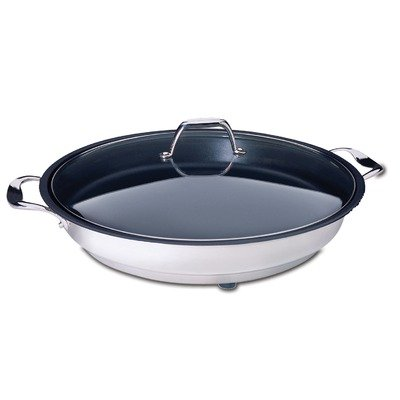 CucinaPro 1653 Classic Stainless Steel Electric Skillet 12 Inch – Non-Stick Interior