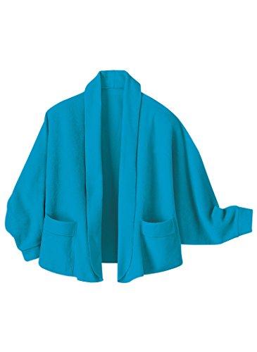 Knit Bed Jacket (AmeriMark Women's Fleece Bed Jacket X-Large(Fits 1X-4X)/Turquoise)