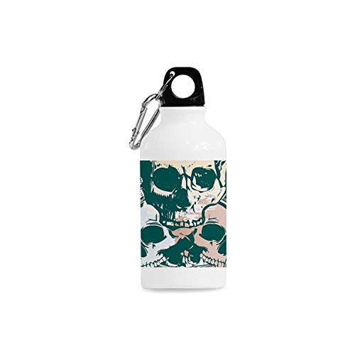 Hitecera Country Simple Aluminum Bottle,Scary Deadly Rocker Skeleton Head Trio with Frames from Leaves Image for Sport,2.6