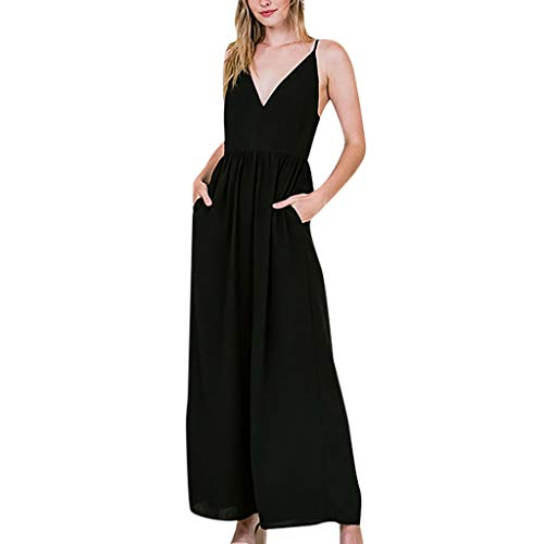 Fashion Women V-Neck Strap Sleeveless Cold Shoulder High Waist Long Jumpsuits&ANJUNIE(Black,XL) ()
