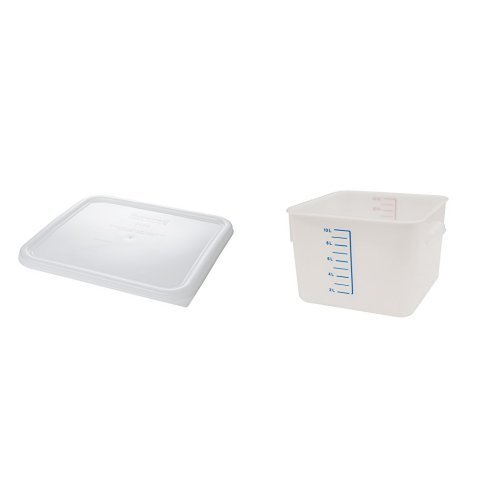 Rubbermaid Commercial Carb-X Space Saving Food Service Container, 12 Quart White WITH White Lid (FG9F0700WHT and FG652300WHT)