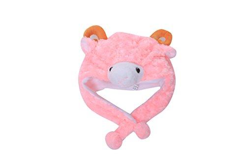 Animal Plush Earmuff Winter Warm Fluffy Cap 2 (Pink (Fluffy Sheep Costume)