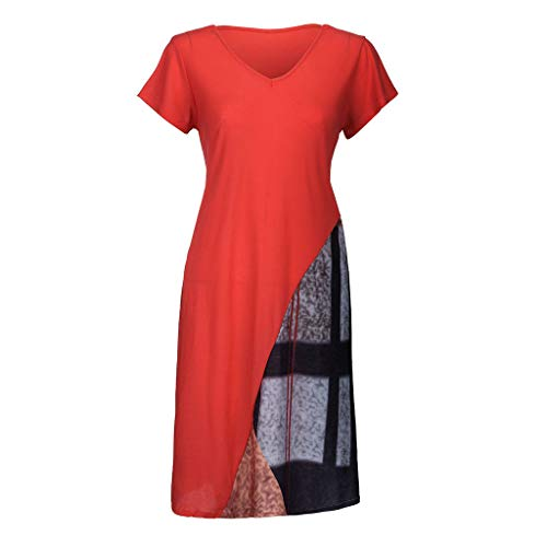 Plus Size Fashion Womens Casual V-Neck Paneled Printing Short Sleeve Dress by VEZAD (Image #1)