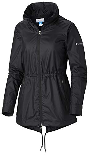 Columbia Women's Plus Size Sustina Springs Long Lined Windbreaker, Black, 3X