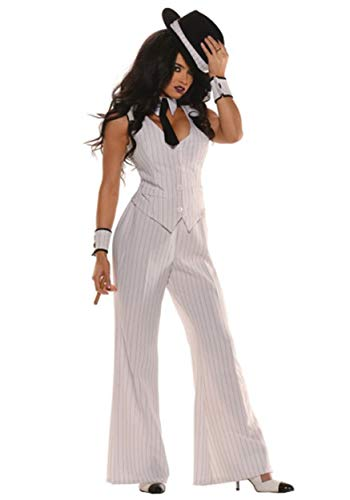 1920s Female Gangster Costume (1920s Gangster Adult Costume White -)