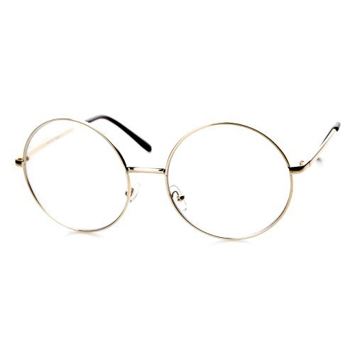 zeroUV – Large Oversized Metal Frame Clear Lens Round Circle Eye Glasses (Gold)