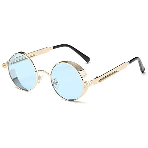 Dollger Vintage Steampunk Sunglasses for Women Men Retro Metal Round Circle Frame Sunglasses (Transparent blue Lens/gold frame)