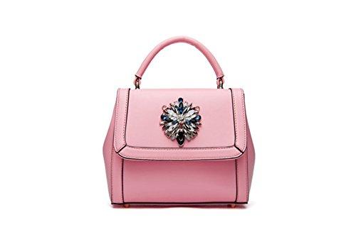 QCKJ Mode Kreuz Körper Schulter Beutel Frauen Soild PU Handtasche Kleine rosa