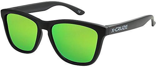 Unisex LW mate Mujer Nerd estilo CRUZE® Retro negro Gafas Caballero 9 Dama verde polarizadas de tipo 070 Gafas claro X Vintage Hombre espejo sol xPqASUHnn