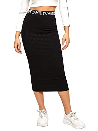 SheIn Women's Striped Elastic Waist Ribbed Knit Bodycon Pencil Skirt Black ()
