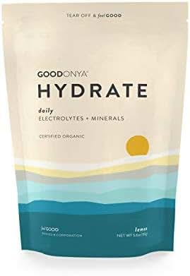 Hydrate Electrolyte + Mineral Powder I Organic | Zero Sugar Added | Keto & Paleo I Real Lemon I Non GMO IPlantBasedIMakes Ultimate Clean Liquid Drink I Replenishmentby GOODONYA5.6oz [20+ serv.]