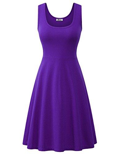 Herou Women Summer Beach Cotton Casual Sleeveless Flared Tank Dress (Dark Purple, Small)