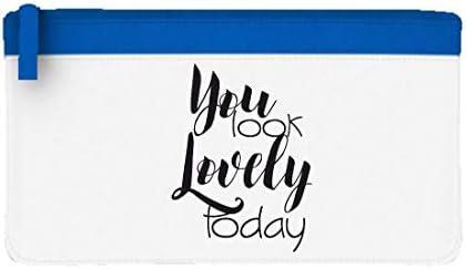 Estuche plano con texto en inglés You Look Lovely Today, color azul talla única: Amazon.es: Oficina y papelería