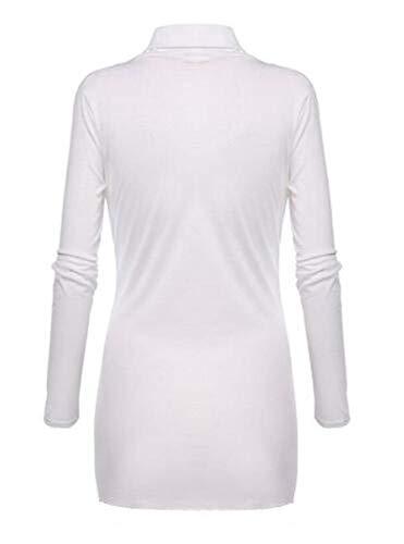Spcial Manches Printemps Tops Vintage Chemisiers Fashion Elgante Tunique Style Casual Femme Shirt Couleur Longues Haut V Irrgulier Blanc Unie Fit Cou Slim Automne Rg7gwq