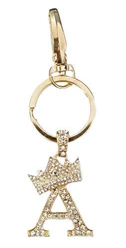Sometheme Special Rhinestone Stud Initial Letter Charm Keychain, Key Ring, Bag Charm, Gift Box Included ()