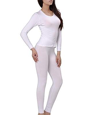 KalvonFu Women's Cotton Round Neck Long John Thermal Underwear Sets