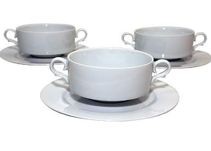 Santa Clara Granada Blanco - Set 6 Tazas consomé con plato