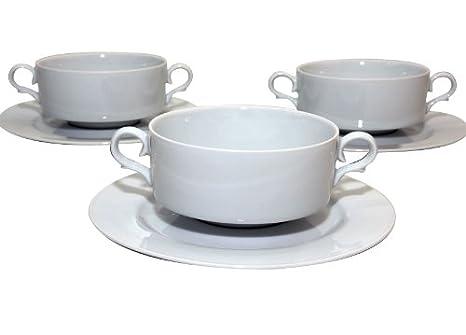 Santa Clara Granada Blanco - Set 6 Tazas consomé con plato: Amazon.es: Hogar